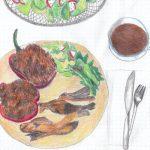 02.04. punjene paprike s rižom u umaku od senfa + salata + čaj