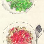 12.8 špageti u paradajz umaku + salata zelena